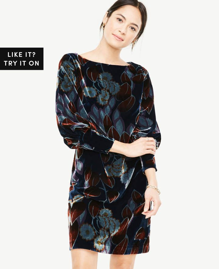 49e2d6ae0e Ann Taylor Printed Velvet Puff Sleeve Dress | Products | Dresses ...