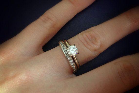 1 2 Carat Solitaire Plus Wedding Band Set 14 K White Gold Offering Flexible Layaway Wedding Band Sets Diamond Wedding Bands Wedding Bands