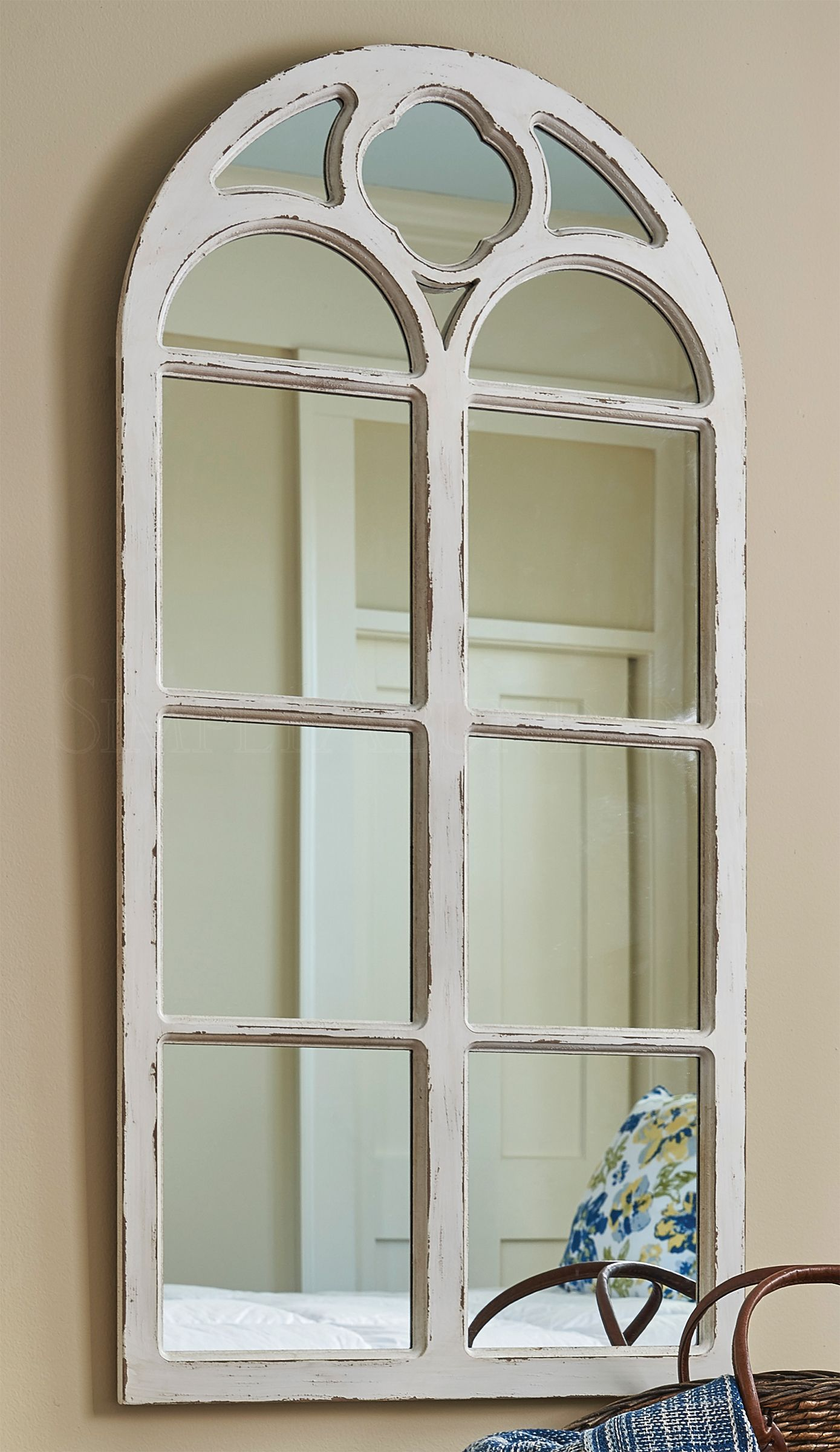 Shabby Chic Distressed White Solid Wood Window Mirror With Curved