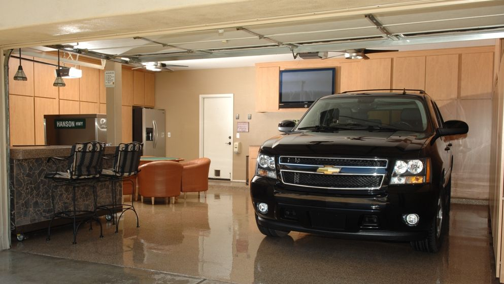 Garage floor coating options reclaim any living space for Garages with living space
