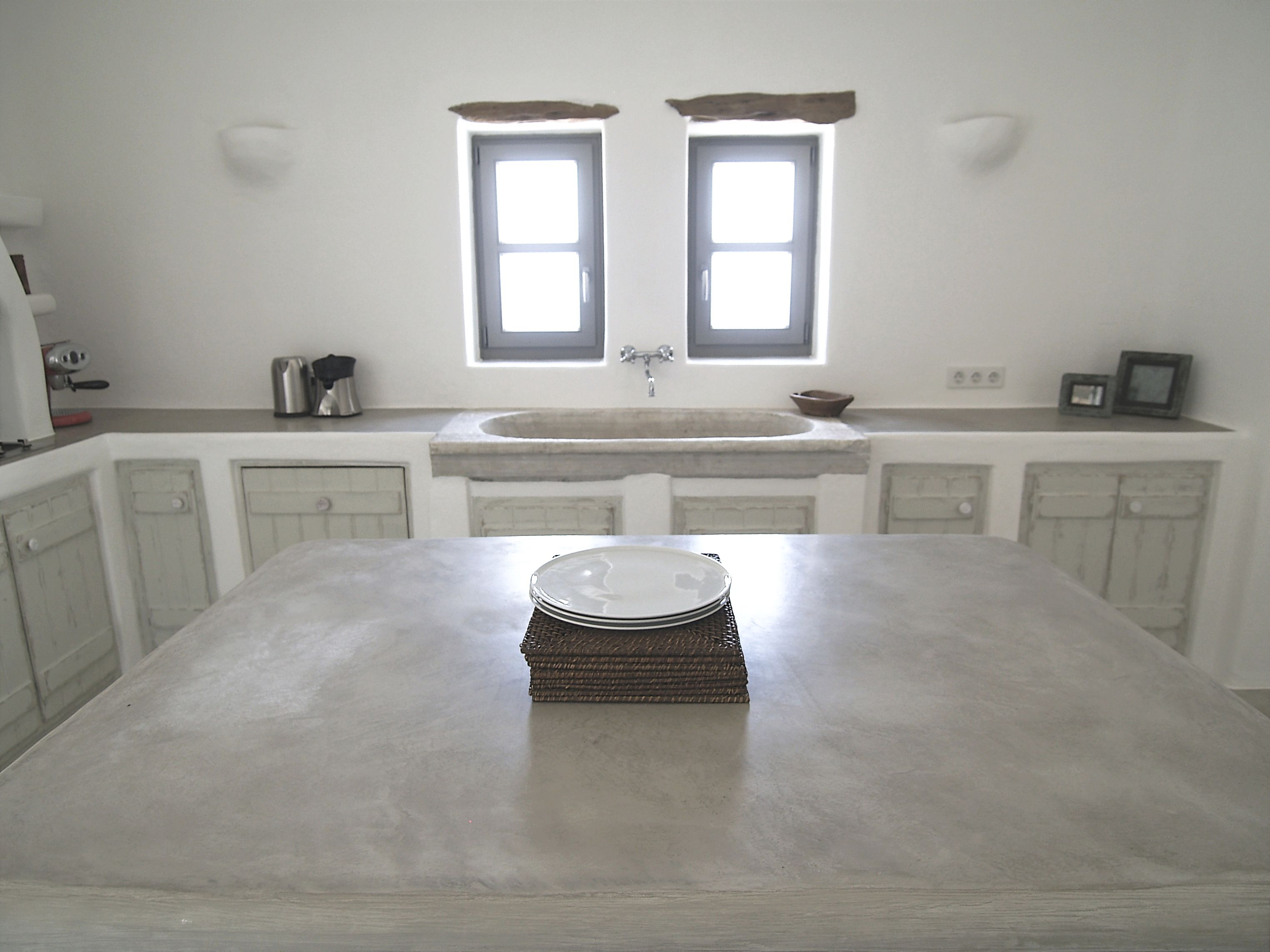 Paros Greece Traditional built hood cupboards and counter