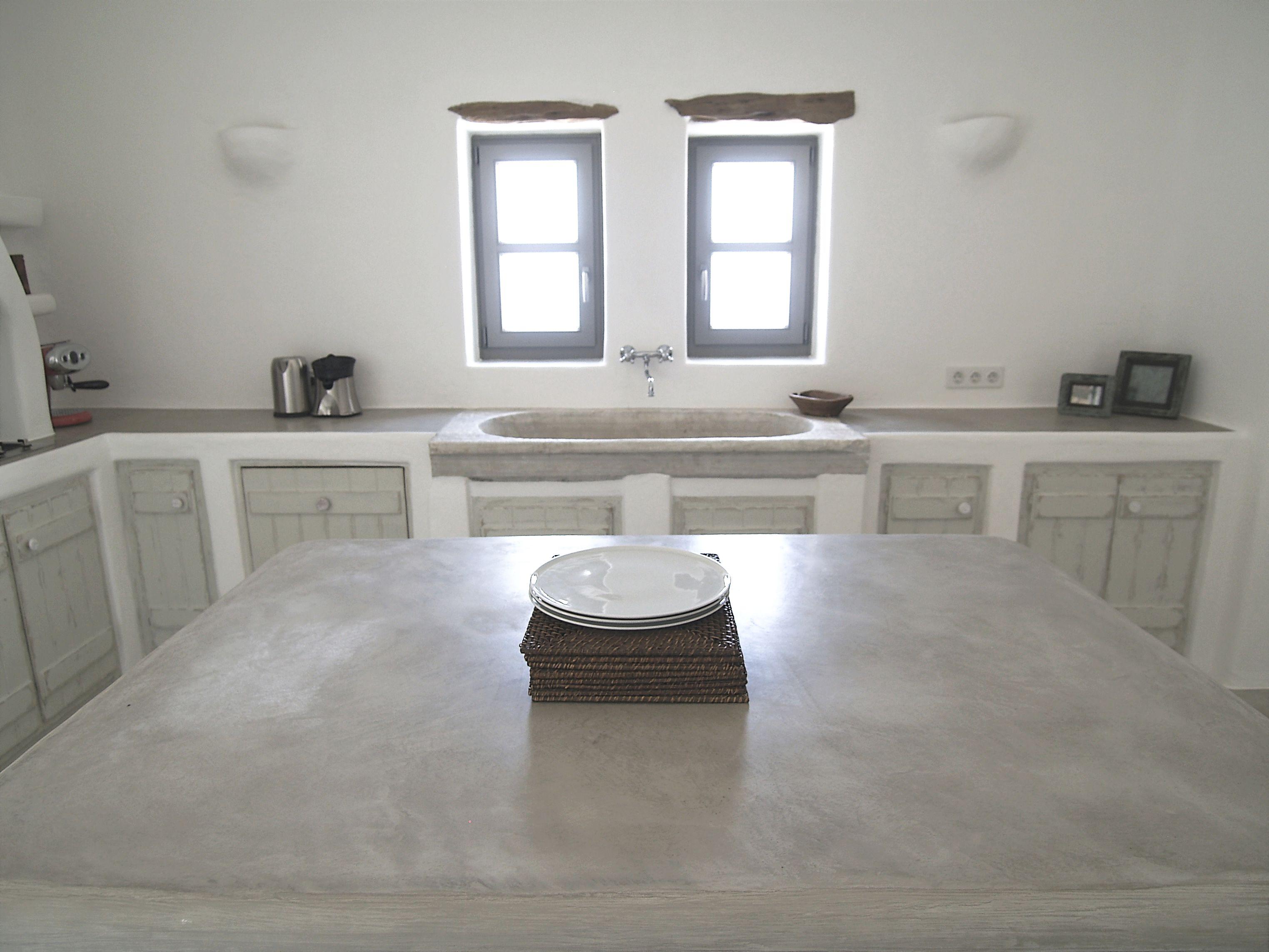 Paros, Greece. Kitchen island by cement mortar. | Kitchen, Cycladic ...