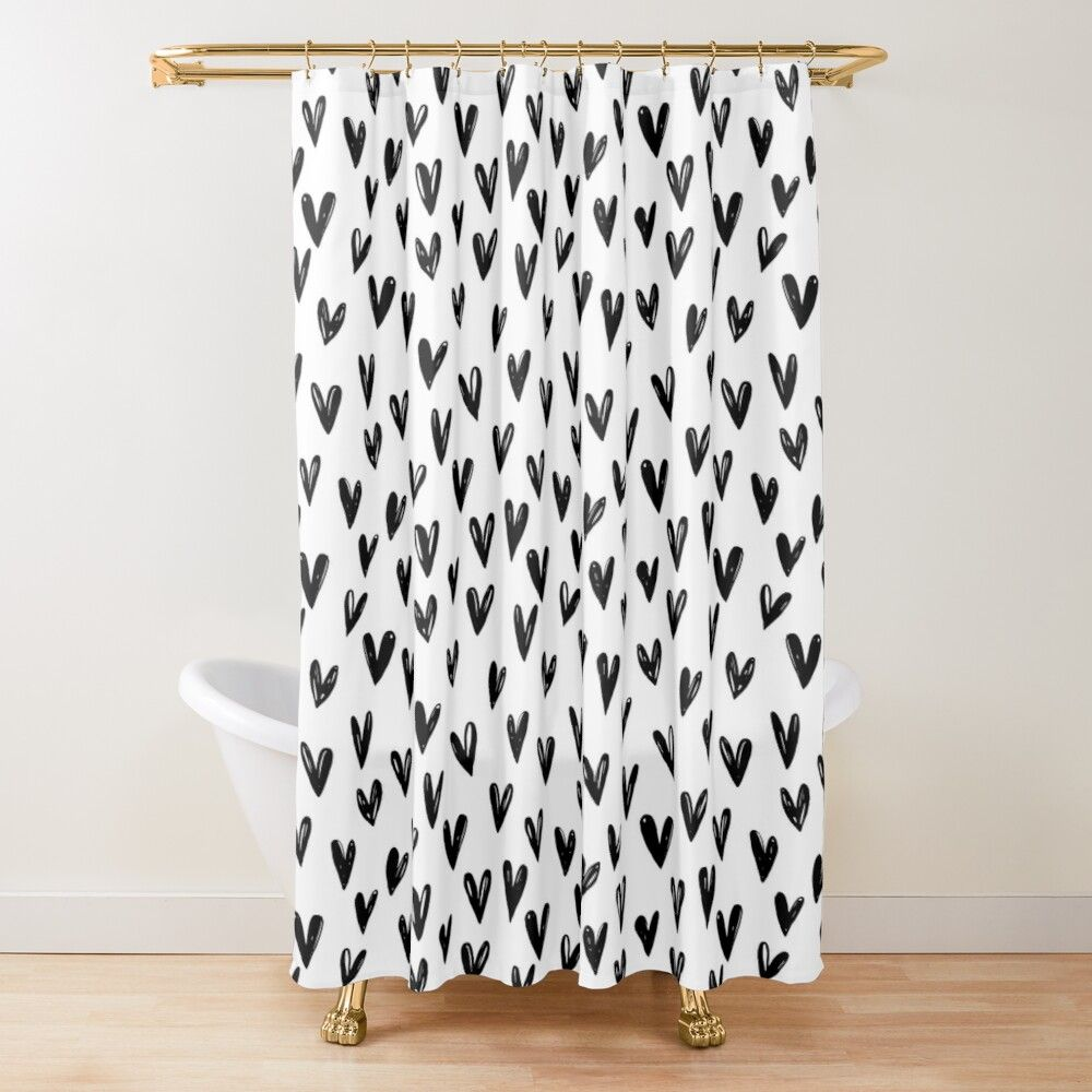 Cute Black And White Doodle Hearts Shower Curtain By Printablepretty Black And White Doodle Curtains Shower Curtain