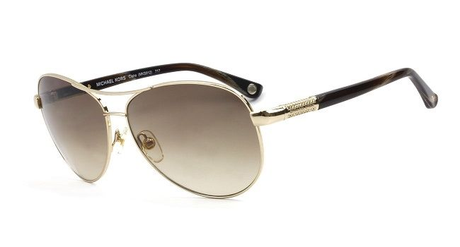 b0f486433e5 Michael Kors Claire MKS912 Gold Brown Women s Aviator Sunglasses ...