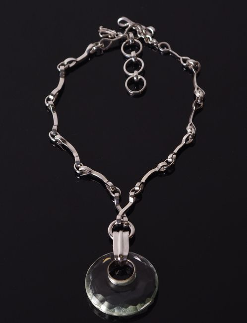 https://www.cityblis.com/7777/item/8749  ON14 Round - $625 by Mademoizelle Sefra jewelry  Mademoizelle Sefra's Jewelry Necklace in 925 sterling silver and crystal  Dimensions :  - Stone : 4,5 cm diameter x 6 cm high (including the attach) - Chain at it's longer : 43 cm - Chain at it's smaller : 38 cm