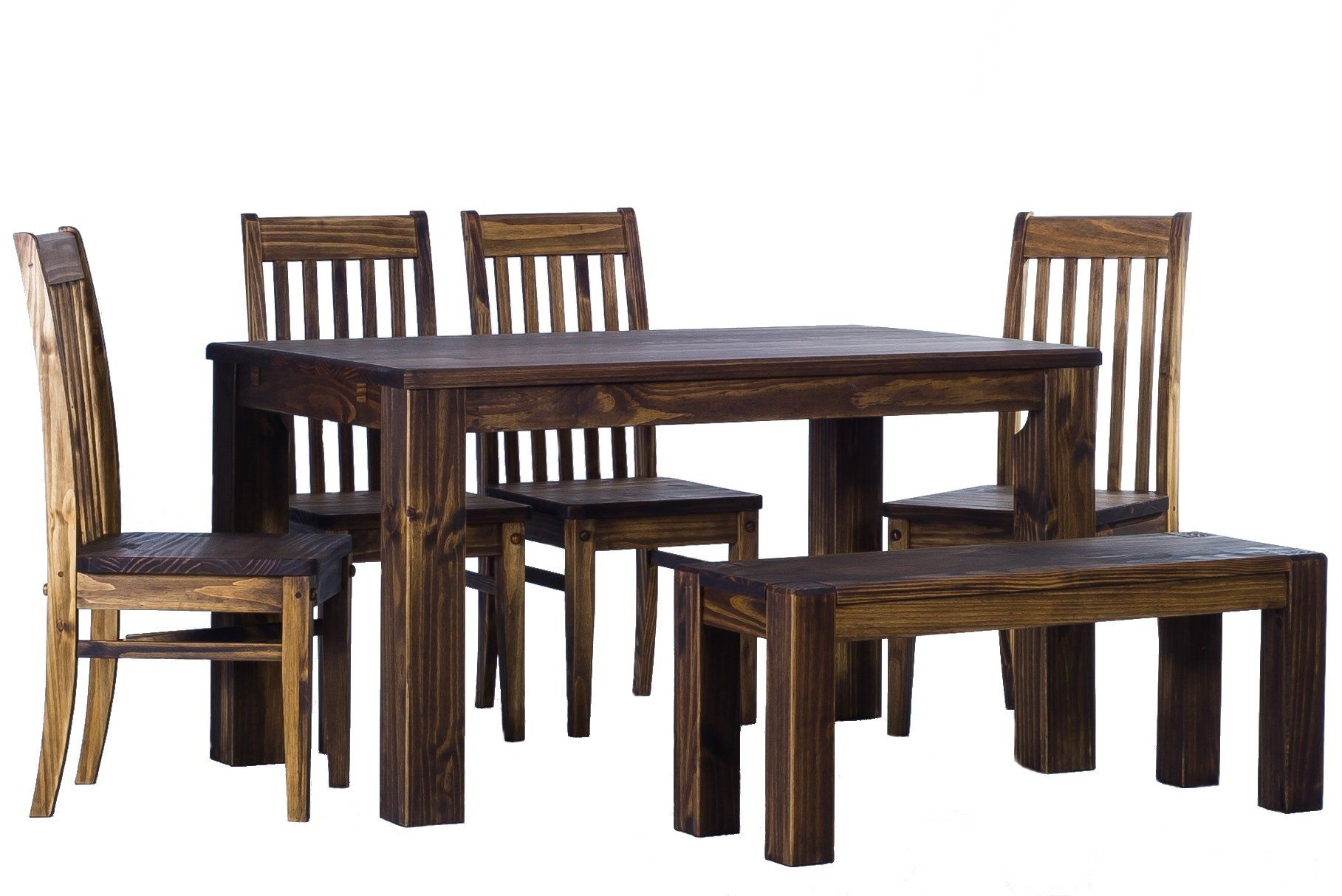 Dining Table Rio Pine With Bench And Four Chairs Dark Brown Solid