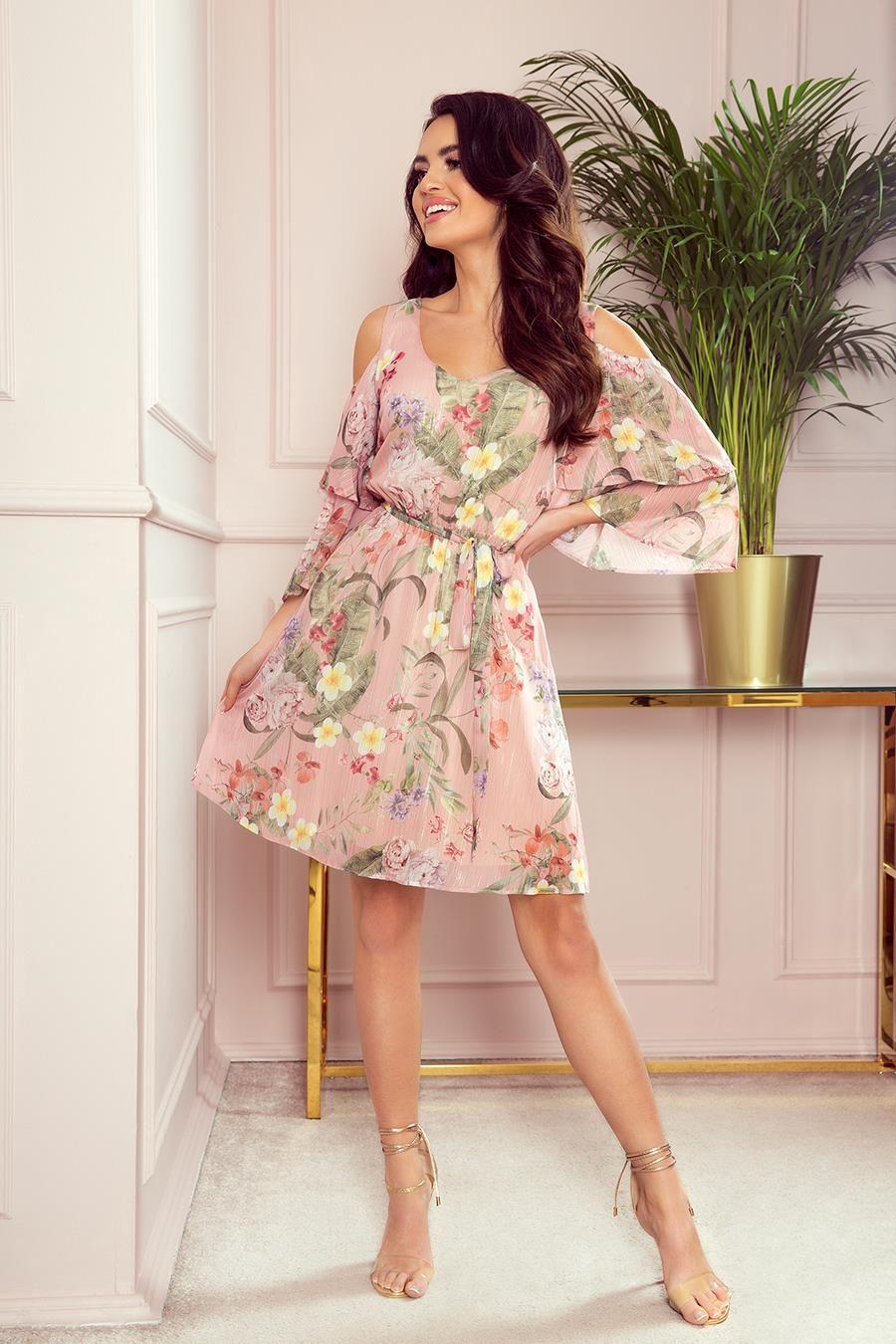 Szyfonowa Sukienka W Kwiaty Rozowa Nu292 1 Dresses Cold Shoulder Floral Dress Floral Dress Formal