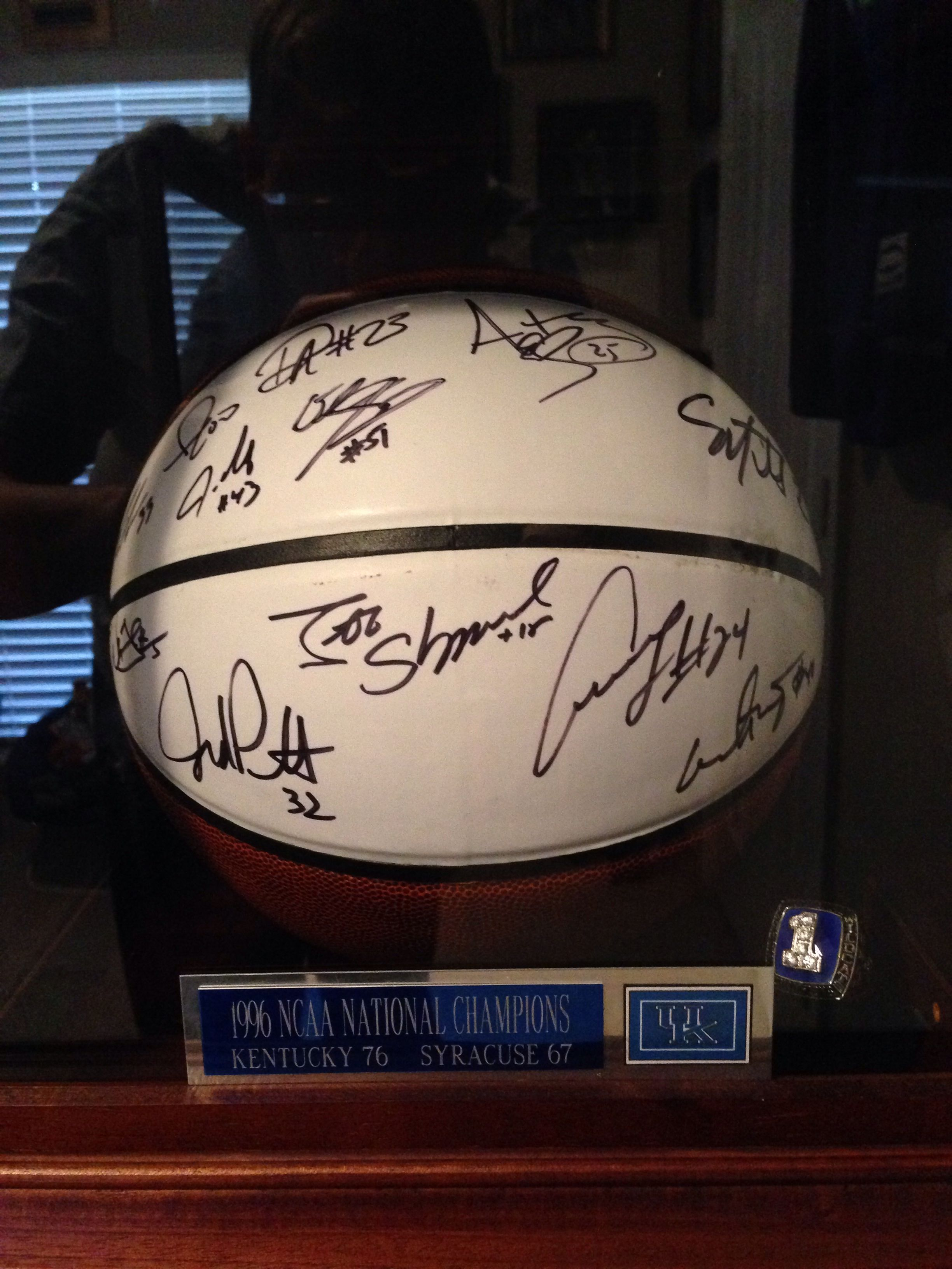 1996 National Championship Autographed team ball and ring