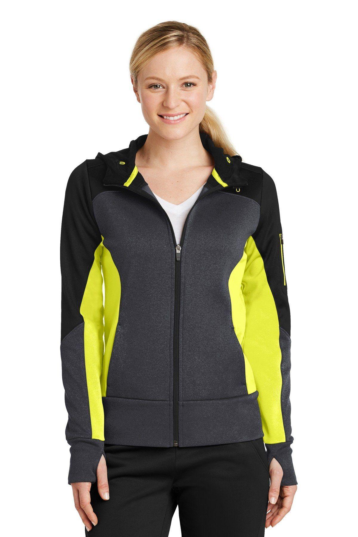 SportTek Ladies Tech Fleece Colorblock FullZip Hooded