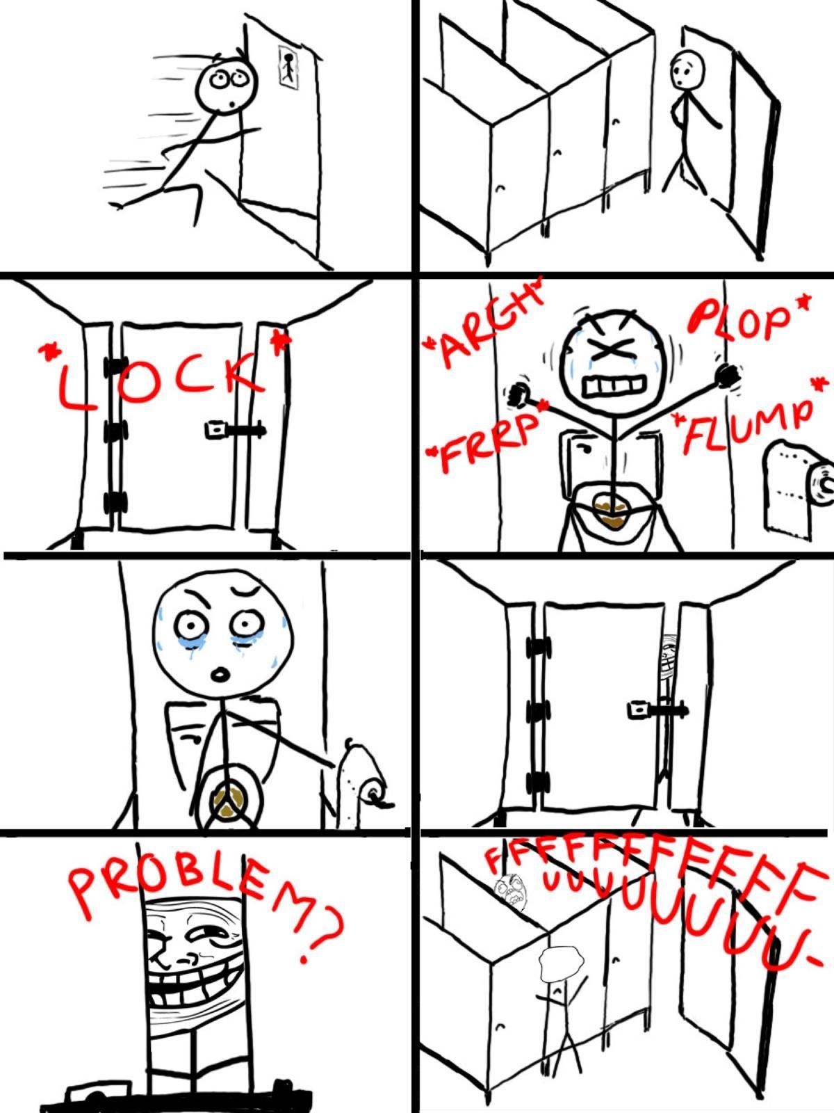 Public Toilet Cubicle Gap Troll Rage