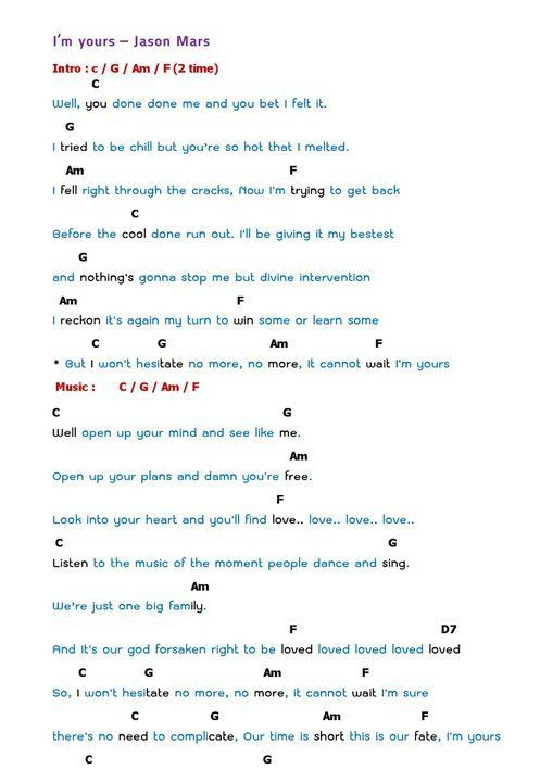 I\'m Yours Ukulele Chords | ukulele i m yours jason mraz......not ...