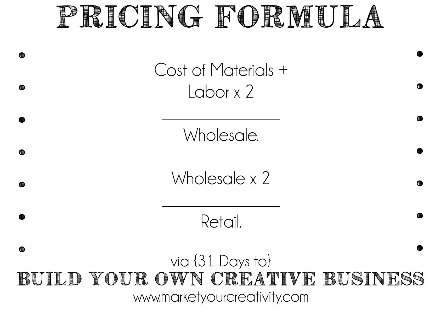 How To Build Your Own Creative Business Pricing Your Handmade Product Day 6 Creative Business Pricing Formula Business Savvy