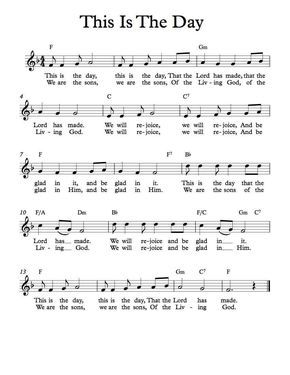 free lead sheet this is the day charts kids gospel songs kids christian music lead sheet. Black Bedroom Furniture Sets. Home Design Ideas