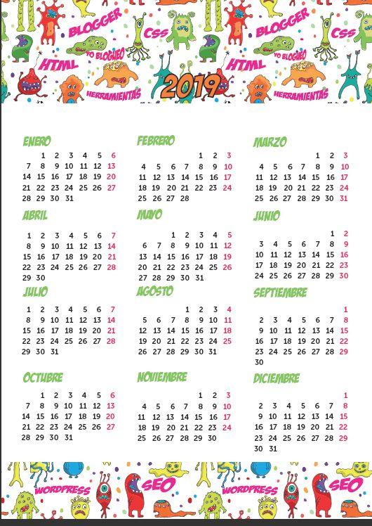Calendario El Grafico 2019 Pdf.Calendario 2019 En Pdf Para Imprimir Gratis Con Planner