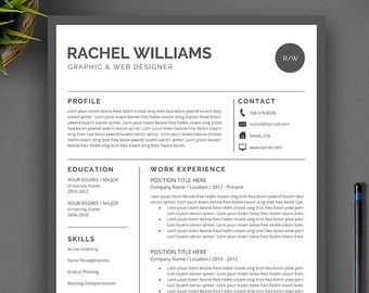 Professional Resume Template Cv Template Us Letter A Word