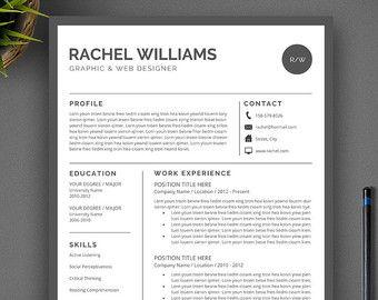 Articles Populaires Correspondant A Cv Template Sur Etsy Resume Template Professional Resume Template Cv Template