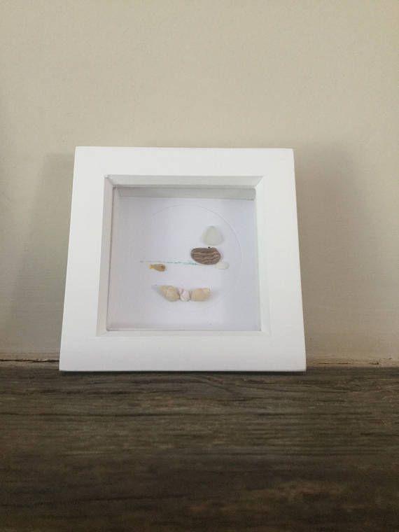Pebble art boat picture pebble art box frame sea glass box