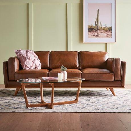 Dahlia 3 Seat Leather Sofa In Oxford Tan Freedom In 2020 Tan Leather Sofas Leather Sofa Leather Couches Living Room