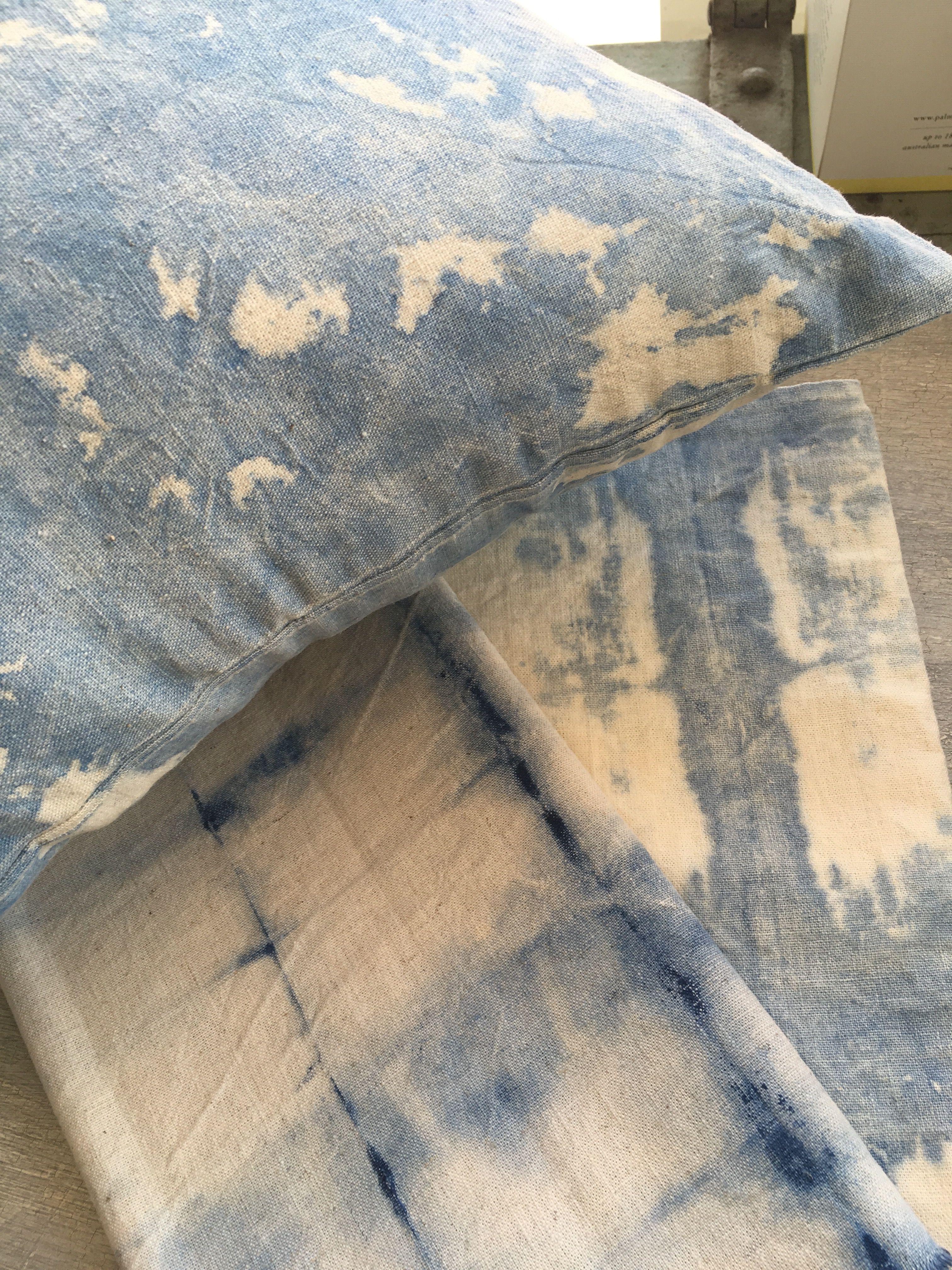 Napoleonic Blue Chalk Paint™ used to dye cotton/hemp fabric. www.sparrowandjackinteriors.com.au