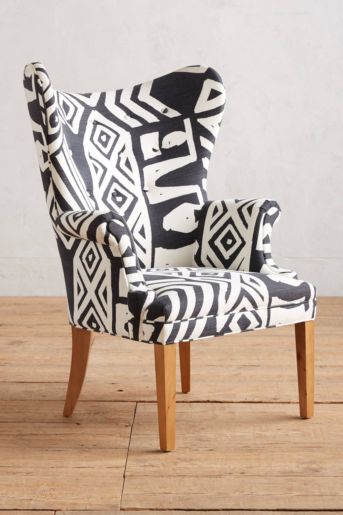 Whit Geo Printed Wingback Chair Wingback Chair Unique