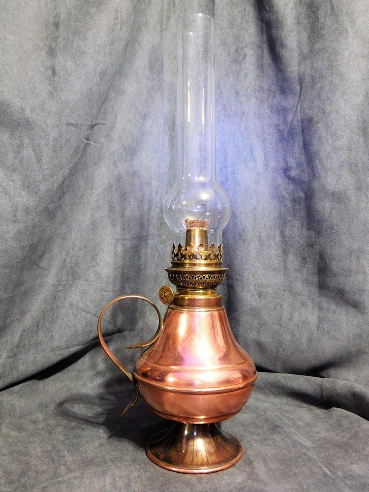 Lampe A Petrole En Cuivre Avec Anse Villedieu Gaor 50 France Marque