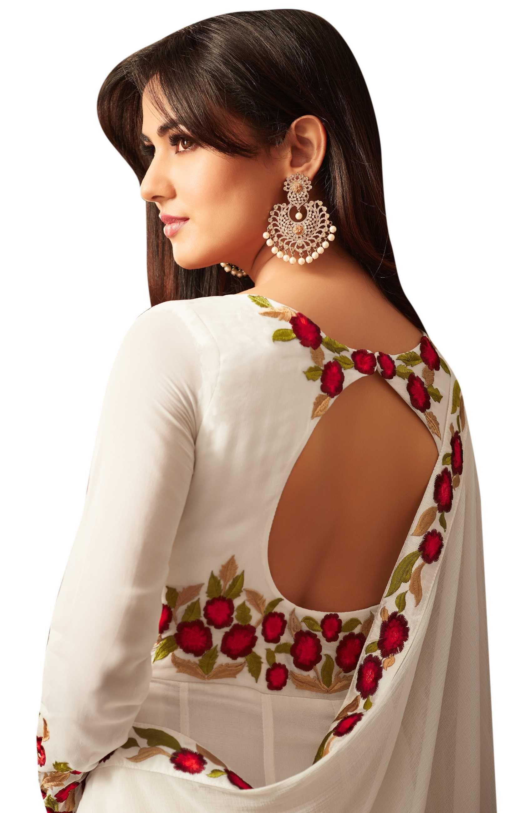 869fdeff6 White Georgette Thread Embroidered Anarkali Suit For Party Wear in ...