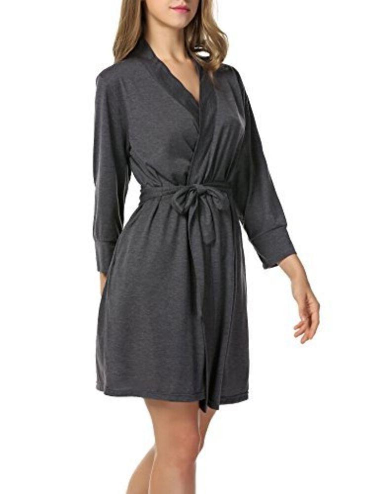 Womens Plus Size Cotton Short Kimono Robes Bathrobe Sleepwear Loungewear