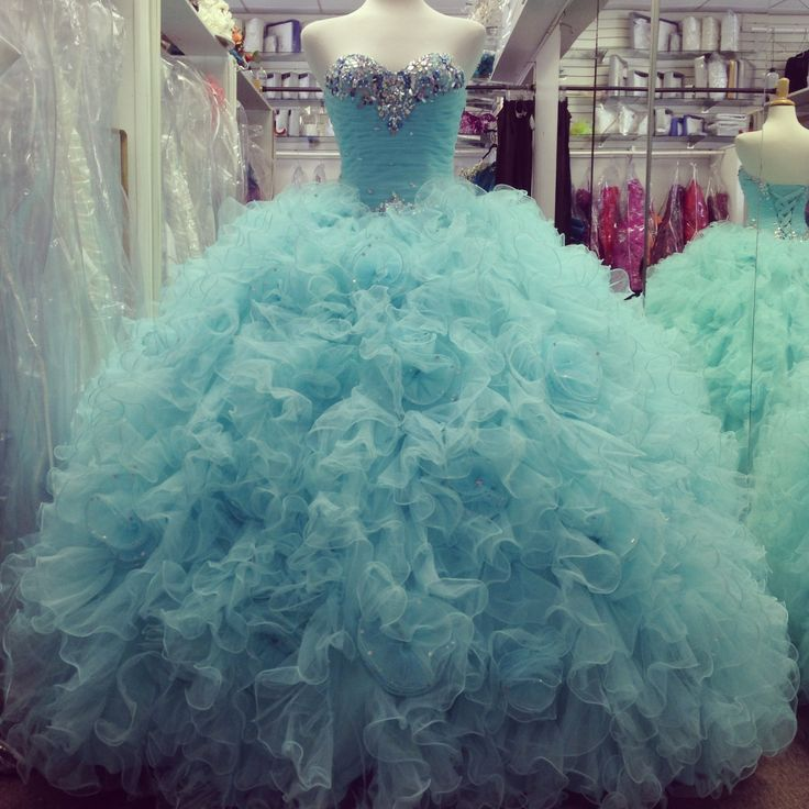 Aqua Blue Masquerade Ball Gowns Prom Quinceanera Dresses 2016 Beaded Tulle Ruffles Lace Up Sweet 16 Cotillion Dress For Girl Birthday