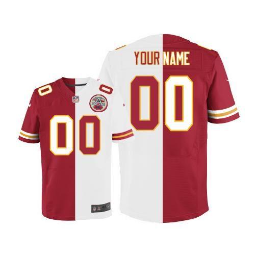 mens nike nfl kansas city chiefs customized redwhite stitched elite split jersey