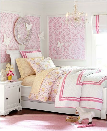 Crown Molding In Bedroom: Wall Paper Framed With Crown Molding -- Toddler Room
