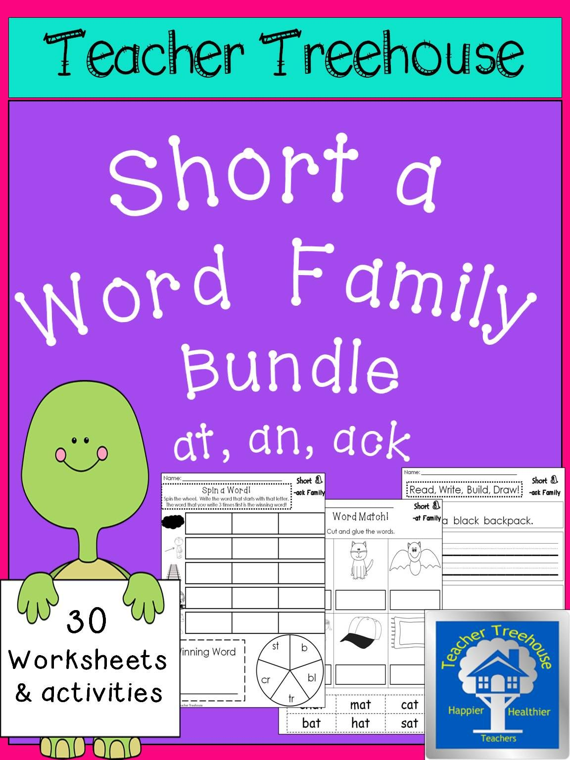 Short A Word Families Worksheets Bundle Ack Family An