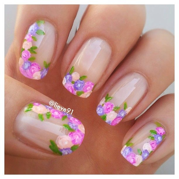 floral french tip nails #nailart #nails #manicure | Nail art ...