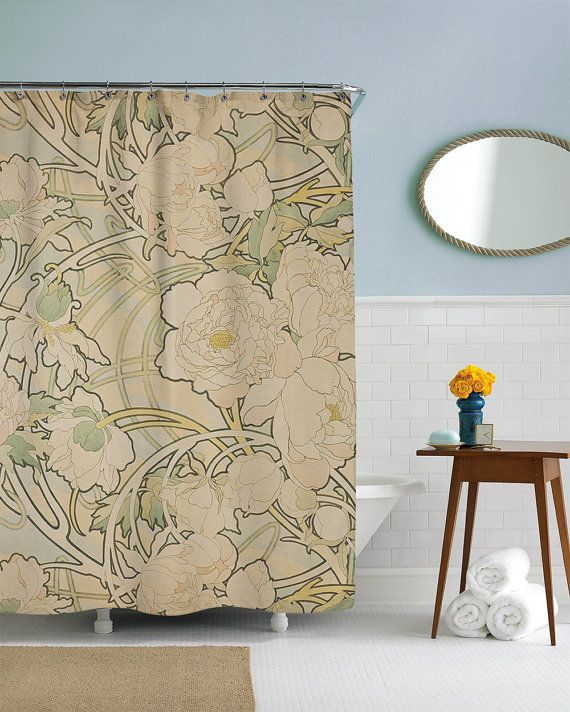 Art Nouveau Shower Curtain Floral Bath Curtain Nature Bathroom