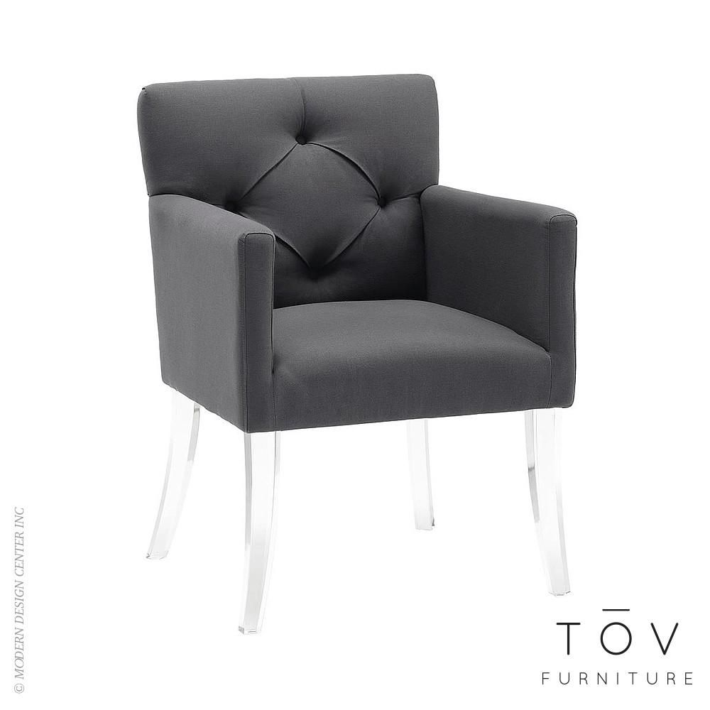 Tov Furniture Lafayette Acrylic Chair Grey Linen