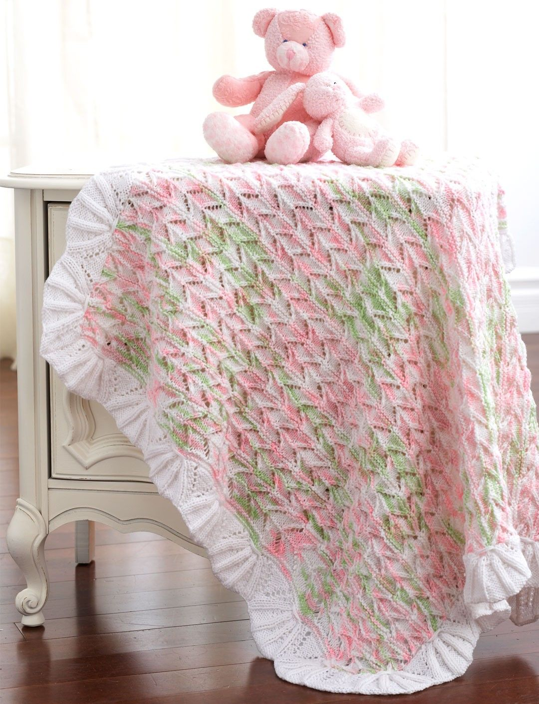 Free knitting pattern for Lacy Blanket with heirloom look and more ...