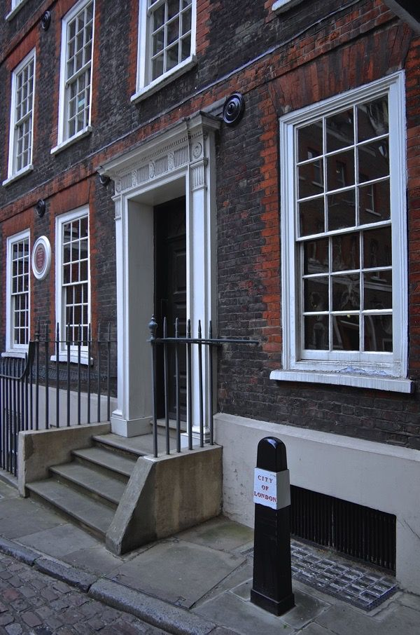 Dr Samuel Johnson's House  in Gough Sq London, where he wrote his famous Dictionary.