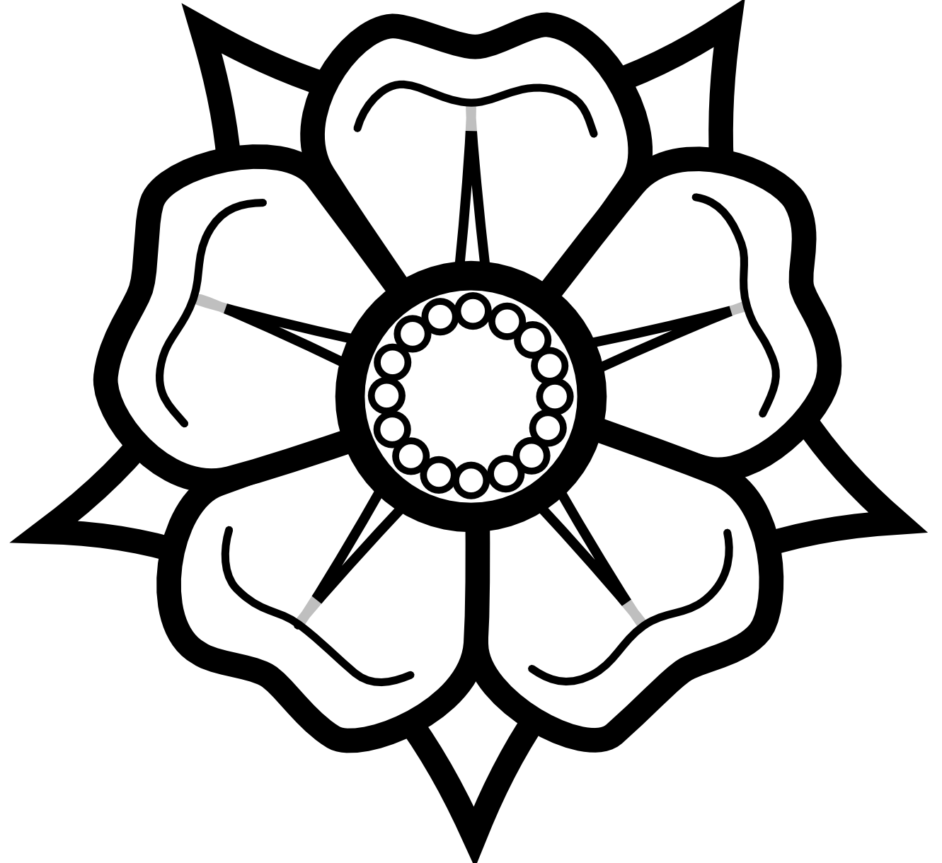 Flower outline rose. Heraldisch lippische black white