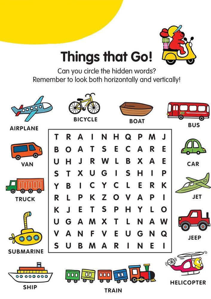 children word search transportation | K5 Worksheets | Kids