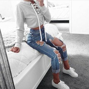 200++Cute+Ripped+Jeans+Outfits+For+Winter+2017+-+My+Cute+Outfits