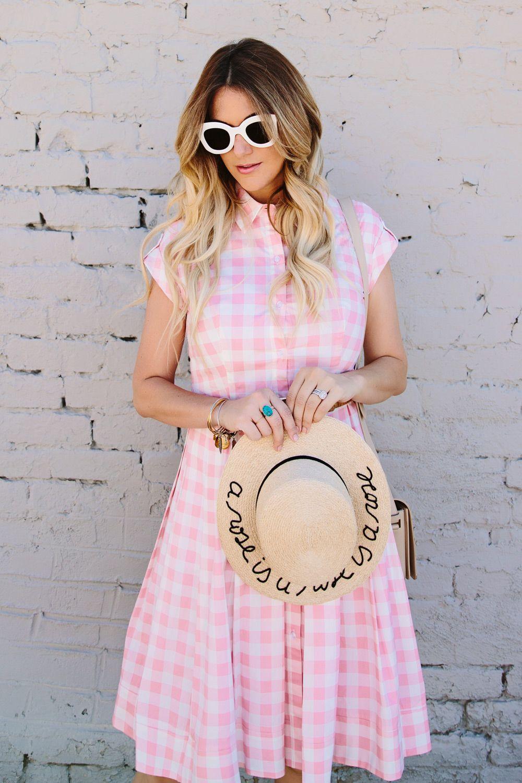 c1710090b2d Dash of Darling wears a sweet tailored pink checkered poplin dress with a  waist-defining belt