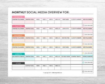 Weekly Social Media Planner  Planners