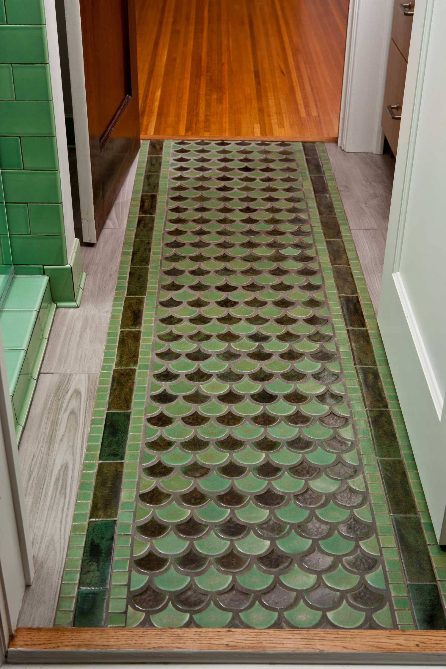 peacock tile floor rug jade moss