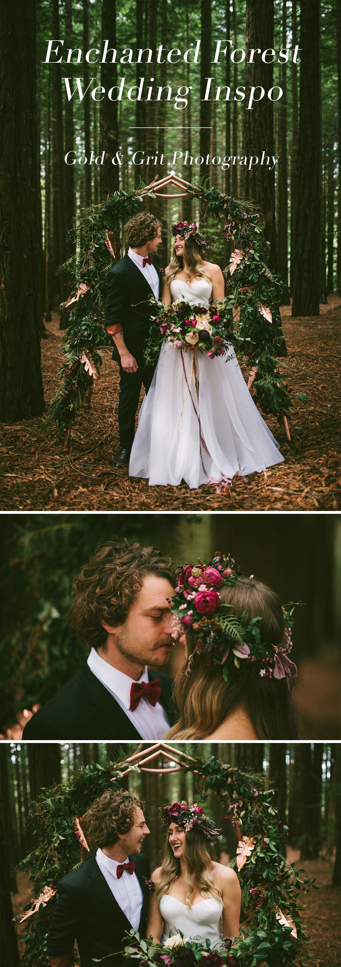 Redwood forest bohemian wedding inspiration with floral copper arch