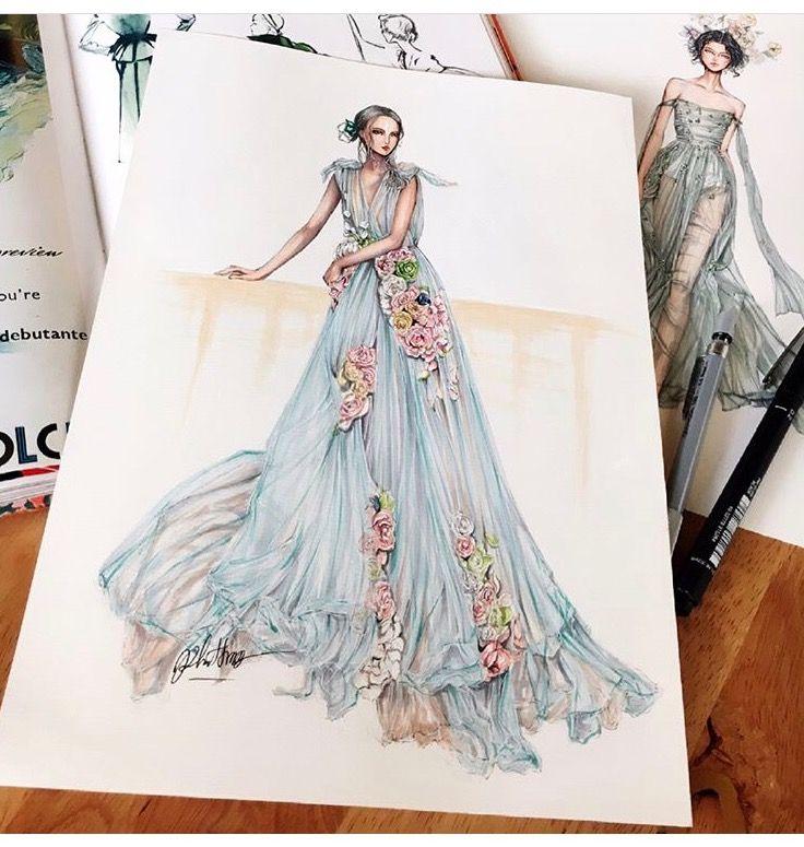 Draped Gown With Floral Arrangements Illustration Pinterest