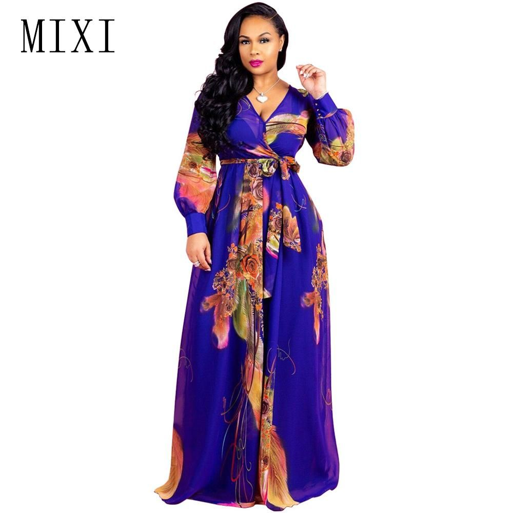 Boho Printed Chiffon Dress Evening Party Dress Beach Maxi Dress ...