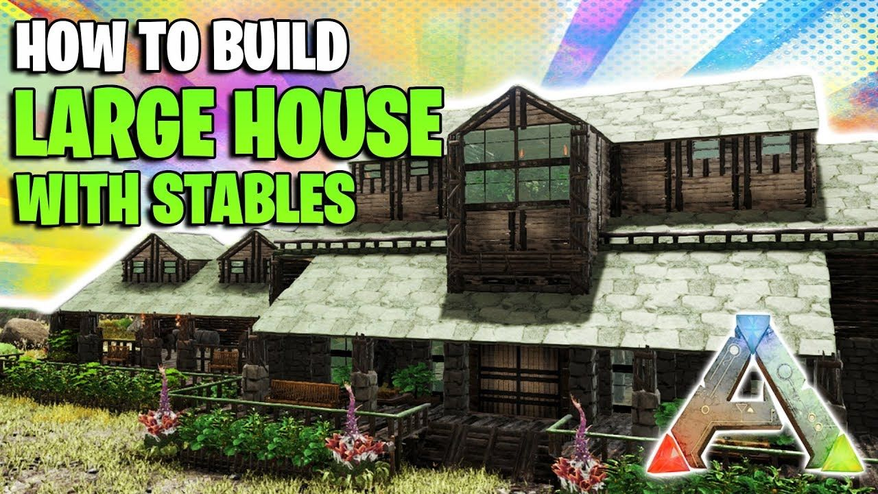 How To Build A Large House With Stables Ark Survival Evolved Youtube Ark Survival Evolved Bases Ark Survival Evolved House With Stables