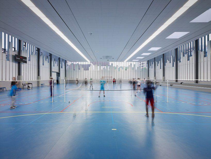 LAN architecture gymnasium + town hall esplanade in