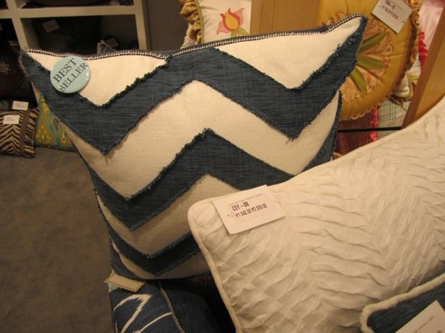 Navy and White Chevron accent pillow found at Eastern Accents