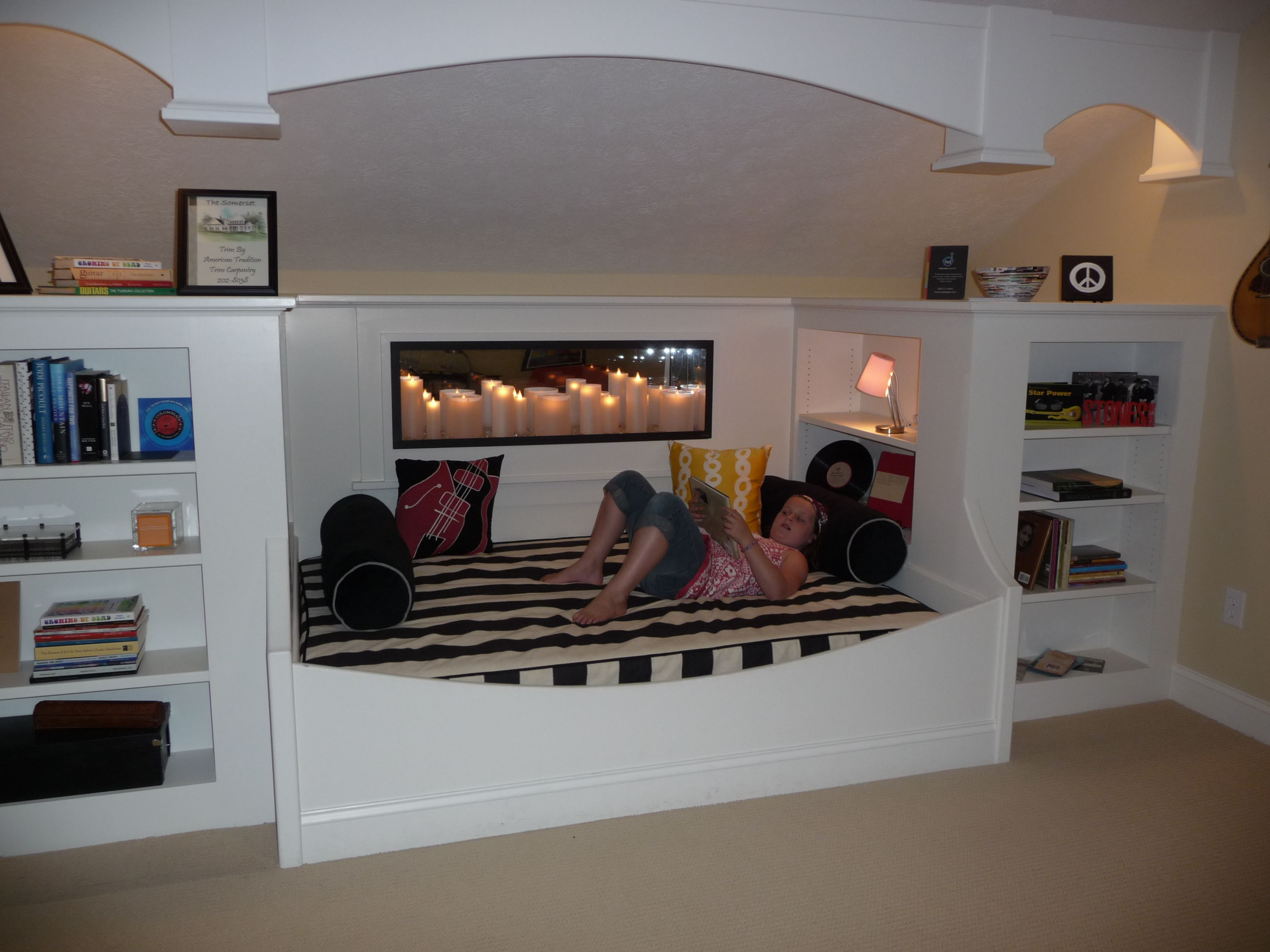 Day beds for teenagers - Teen Suite Equipped With Built In Daybed And Wall Candle Fireplace Feature