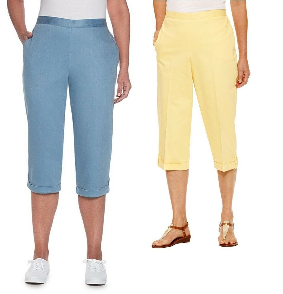 Alfred Dunner Capri Pants Cotton Blend in White or Blue Sizes 14-16P